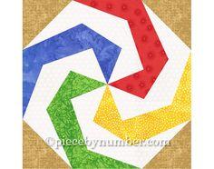 Lollipop quilt block pattern paper pieced by PieceByNumberQuilts