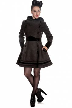 Bunny - Vintage Sofia Hooded Winter Swing Coat in Grey