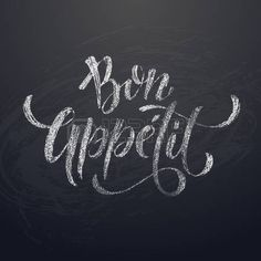 Illustration of Bon Appetit chalk drawing calligraphy title text on chalkboard background. Vector Illustration vector art, clipart and stock vectors.
