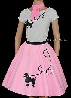 3 Pc Pink Poodle Skirt Outfit Adult Size SMALL Waist 25