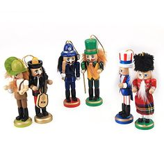 Colorful Cute Wooden Nutcracker Handcraft for Home Christmas Decoration Set of 6 -- Continue to the product at the image link. Nutcracker Ornaments, Nutcrackers, Seasonal Decor, Image Link, Christmas Decorations, Decor Ideas, Colorful, Seasons, Cute