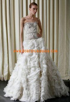 Monique Lhuillier belle robe de mariée longue de luxe glamour ornée de cristal organza Style Soleil