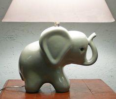 Vintage Ceramic Elephant Nursery Lamp