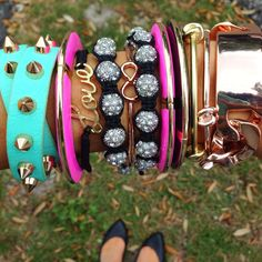 Girly & retro #armparty! Bracelets (8.99-19.99) all available in store at #sophieandtrey, call us at 407.324.5747 to order today! #armcandy #girly #retro #accessories