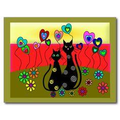 Black Cat Lovers Art Gifts Postcard