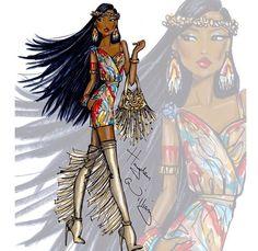 Hayden Williams Fashion Illustrations: Disney Diva Fashionistas by Hayden Williams: Pocahontas Moda Disney, Disney Mode, Disney Art, Walt Disney, Hayden Williams, Arte Fashion, Fashion Models, Paper Fashion, Vogue Fashion