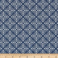 Designed by Jeni Baker for Art Gallery, this cotton print fabric is perfect for quilting, apparel and home decor accents. Art Gallery Fabric features 200 thread count of finely woven cotton. Colors include navy blue and white.