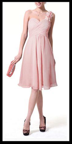 blush pink bridesmaid dress chiffon dress with one shoulder strap evening party dress. $60.00, via Etsy.