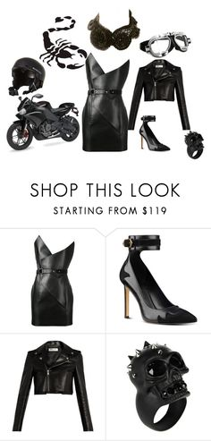 """""""black biker"""" by mimmiandkinkistatementjewelry ❤ liked on Polyvore featuring Yves Saint Laurent, Nine West, Alexander McQueen, WALL and Quiksilver"""