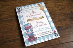 Alice in Wonderland 1st birthday invitation, blue, pink & gold, harlequin, tea cups, mad hatter, queen of hearts - Alex Tebow Designs