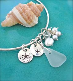 Hand stamped charms bracelet - Starfish initial sea glass charm bangle