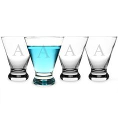 Cathys Concepts  Personalized Cosmopolitan Cocktail Glasses Set of 4
