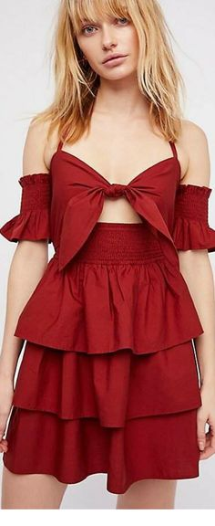 Polka Dot Off The Shoulder Dress With Frill Trim - Red Daisy Street Sale Low Price Fee Shipping ROZSBXJGIx