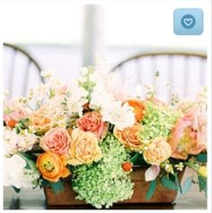 Peach and green flowers