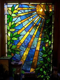 Stained glass sunray panel www.glassworksstudio.co.uk