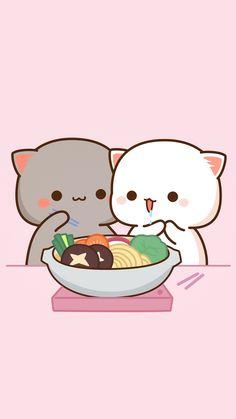 Cute Anime Cat, Cute Bunny Cartoon, Cute Kawaii Animals, Cute Cartoon Pictures, Cute Love Pictures, Cute Love Cartoons, Iphone Wallpaper Cat, Cute Emoji Wallpaper, Cute Cartoon Wallpapers