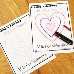 Valentine Coloring page trace and color - free Valentine printable