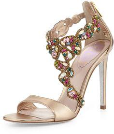 Rene Caovilla Crystal-Covered Asymmetric Sandal