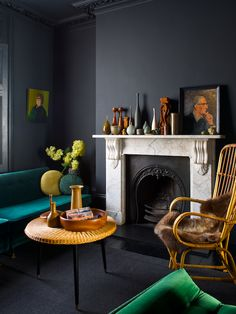Jo Atkins Hughes totally nails mantle and table arrangements with objects that vary in height and shape but remain within the same colour palette.