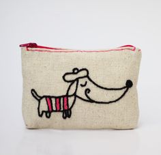 coin purse  hand embroidery on linen  zipper pouch  por NIARMENA