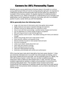 Careers for ISFJ Personality Types Careers for ISFJ Personality Types Whether