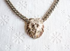 Silver Chain / Lion Choker Necklace, Vintage Costume Jewelry