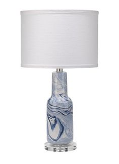 Hand-swirled blue and white ceramic create a light and airy pattern unique to each accent lamp. Handmade, size and finish will vary. Blue Table Lamp, Ceramic Table Lamps, Home Decor Lights, Bedroom Lamps, Drum Shade, Blue Velvet, Lamp Light, White Ceramics, Blue And White
