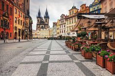 Old Town Square, Prague <3 <3 <3 [great memories of the food, cafes (seen here) and the World Cup when it was in Germany]