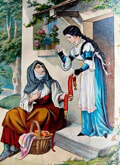 old Snow White illustration. Snow White Art, German Fairy Tales, Evil Disney, Famous Fairies, Classic Fairy Tales, Ladybird Books, Fairytale Art, Book Illustration, Alice In Wonderland
