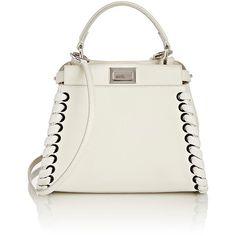Fendi Peekaboo Mini-Satchel ($3,550) ❤ liked on Polyvore featuring bags, handbags, white, fendi satchel, satchel purse, satchel handbags, fendi and handle satchel