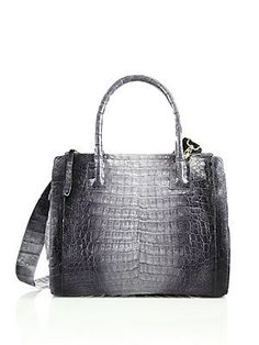 Nancy Gonzalez Small Double-Zip Crocodile Tote - Grey