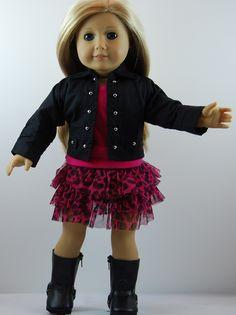 "Doll Clothes Fit 18/"" Skirt Set Black Glitter Fits American Girl Dolls"