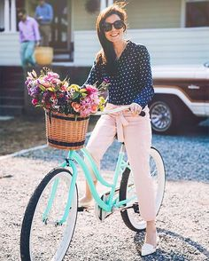 "Sarah Vickers on Instagram: ""Pedaling petals "" - navy polka dot blouse, blush trousers, pointed loafers"