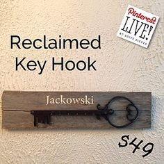 Pinterest LIVE! at Suite Pieces Huntington | Suite Pieces  Reclaimed Key Hook  Tuesday, March 22nd at 7pm