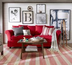 After Red Sofa Living Room Ideas - athomebyte Red Couch Rooms, Red Couch Living Room, Red Living Room Decor, Red Home Decor, Living Room Colors, Interior Design Living Room, Living Room Furniture, Red Couches, Grey And Red Living Room