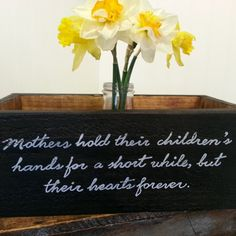 Gorgeous! A wooden crate box for Mother's Day! Prepare something similar yourself and get one of our plain wooden crates or apple boxes and decorate it yourself. You could use decoupage paper as well. More Mother's Day DIY gift ideas and inspiration at www.craftmill.co.uk