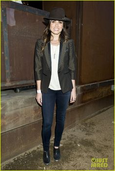 Nikki is wearing a Ted Baker blazer, Theory shoes, Mattlin Era jewels, and a Janessa Leone hat. (march 2013)