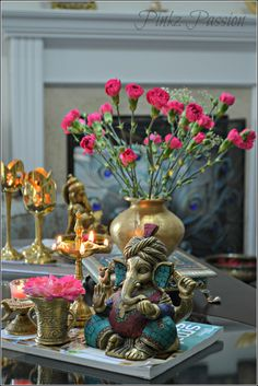 Ganesha decor Ganesha brass decor Indian home decor Indian brass decor desi Ganesha, Indian Home Interior, Indian Home Decor, Indian Inspired Decor, Saloon Decor, Indian Room, Elephant Home Decor, Decor Home Living Room, Diwali Celebration