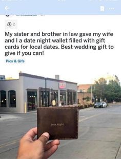 Date night wallet Wedding gift wallet filled with gift cards for various places for the couple to have dates Best Wedding Gifts, Wedding Gifts For Couples, Cute Wedding Ideas, Wedding Goals, Wedding Tips, Perfect Wedding, Diy Wedding, Wedding Planning, Dream Wedding