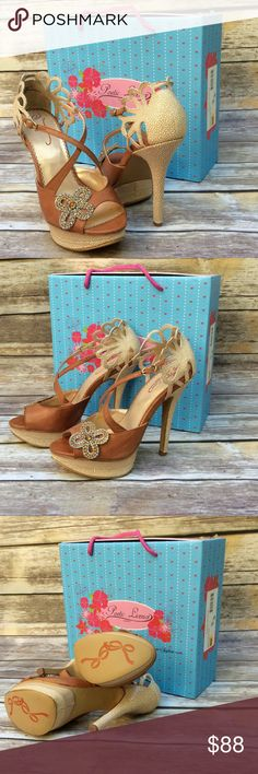 """POETIC LICENCE of LONDON GOTTA HAVE HEELS Can't get much cuter and sexier than this! Leather upper. Silver and gold rhinestone bow. Adjustable ankle buckle. 5"""" total heel height. True to size.  modeling or trades. Poetic Licence of London Shoes Platforms"""