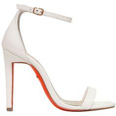 Carvela Kurt Geiger Women 110mm Giddy Mirror Faux Leather Sandals ($170) ❤ liked on Polyvore featuring shoes, sandals, heels, white, vegan footwear, carvela kurt geiger, white sandals, vegan shoes and white heeled sandals