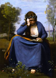 The Reader Crowned with Flowers, or Virgil's Muse (1845).Jean-Baptiste-Camille Corot (1796-1854).