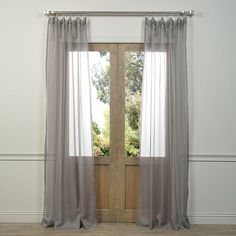 EFF Solid Sheer Voile Window Panel Pair ($36) ❤ liked on Polyvore featuring home, home decor, window treatments, curtains, silver, sheer drapery panels, sheer window panels, sheer window treatments, sheer curtain panels and voile window panels
