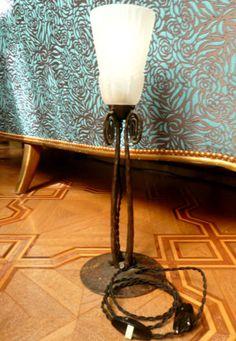 Unique Pair of Signed R Lalique Art Deco Lamps