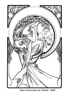 Alphonse Mucha Coloring Pages Free <b>coloring pages</b> of nouveau <b>mucha</b>