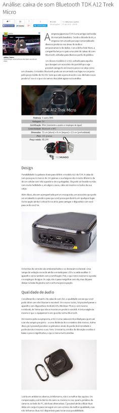 Título: Análise: Caixa de som Bluetooth TDK A12 Trek Micro. Veículo: Tecmundo . Data: 07/04/2015. Cliente: Disac