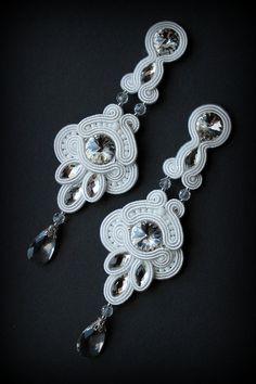 Handmade soutache earrings with swarovski by Mildossutazas