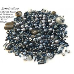 Catwalk Black & Grey Deluxe 80 Grams (300+) Glass & Metal Beads Mix Including Rare Lampwork, Pearls, Seed, + Mixed Metal Beads Medley ~ A Perfect Starter Beads Mix For Jewellery Making ~ Limited Editions Collection