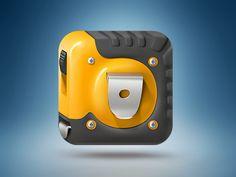 Tape measure iOS icon found on Dribbble.