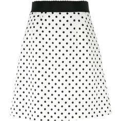 Dolce & Gabbana polka dot brocade skirt (256.750 HUF) ❤ liked on Polyvore featuring skirts, mini skirts, white, stretch mini skirt, evening skirts, short mini skirts, white summer skirts and white mini skirt